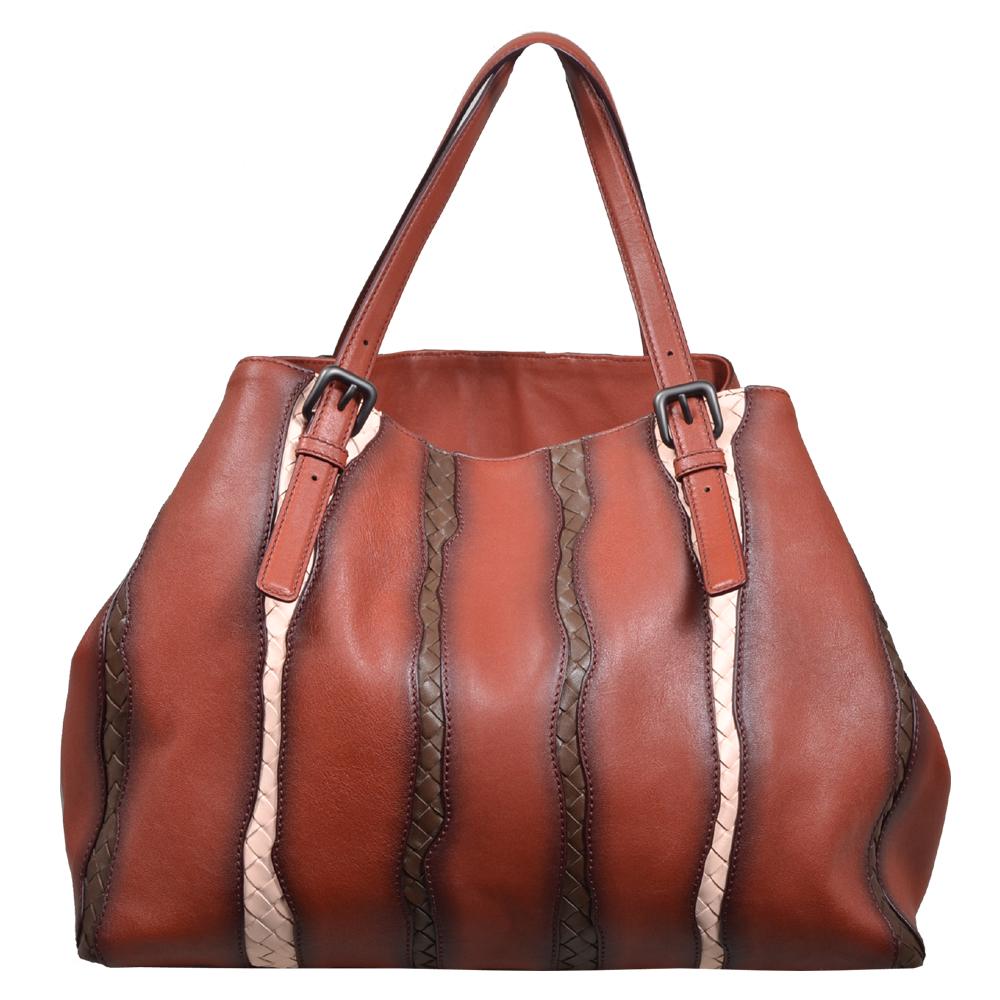 Bottega Veneta Shopper red grey brown white leather 4 Kopie baf2303ea525d