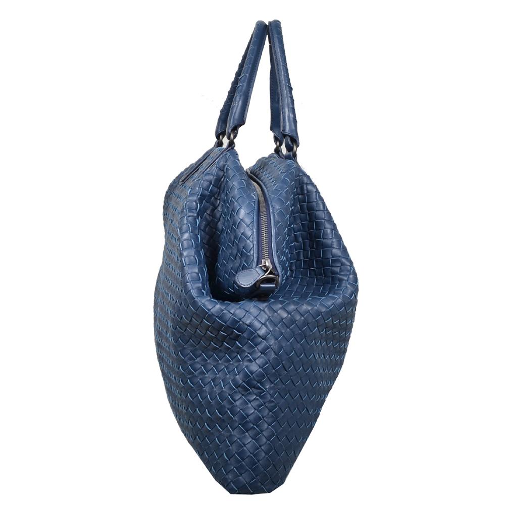 Bottega Veneta shopper convertible blue woven leather silver 2 Kopie ba64a5be83698