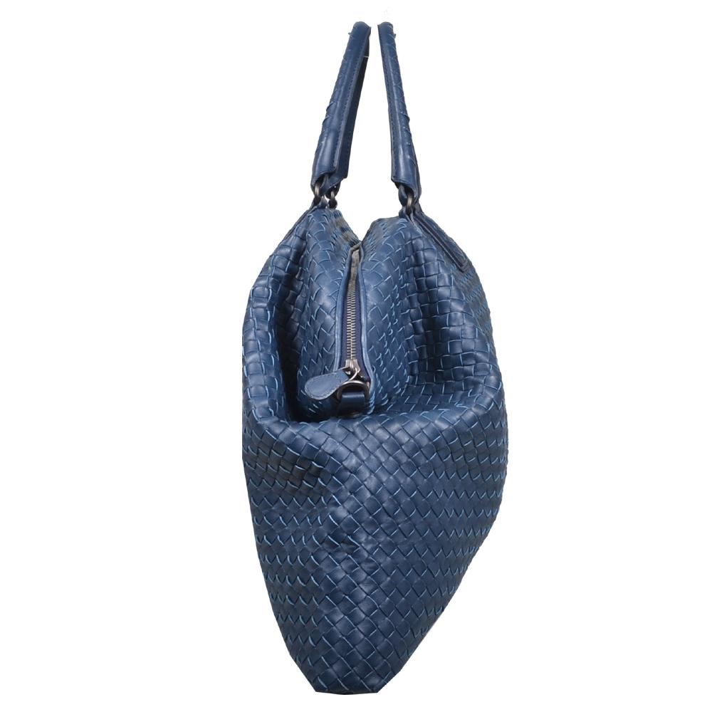 be713a27f0 Bottega Veneta shopper convertible blue woven leather silver 3 Kopie