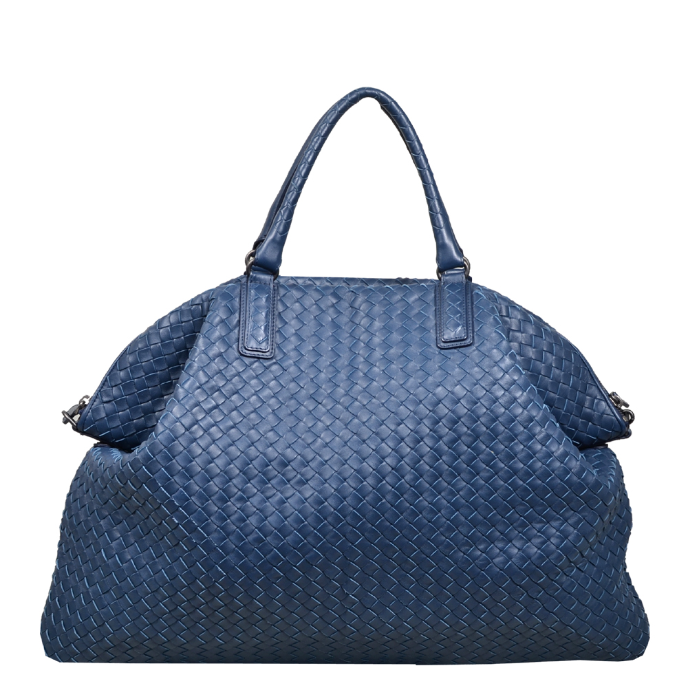 d635c3bc9b Bottega Veneta shopper convertible blue woven leather silver 4 Kopie