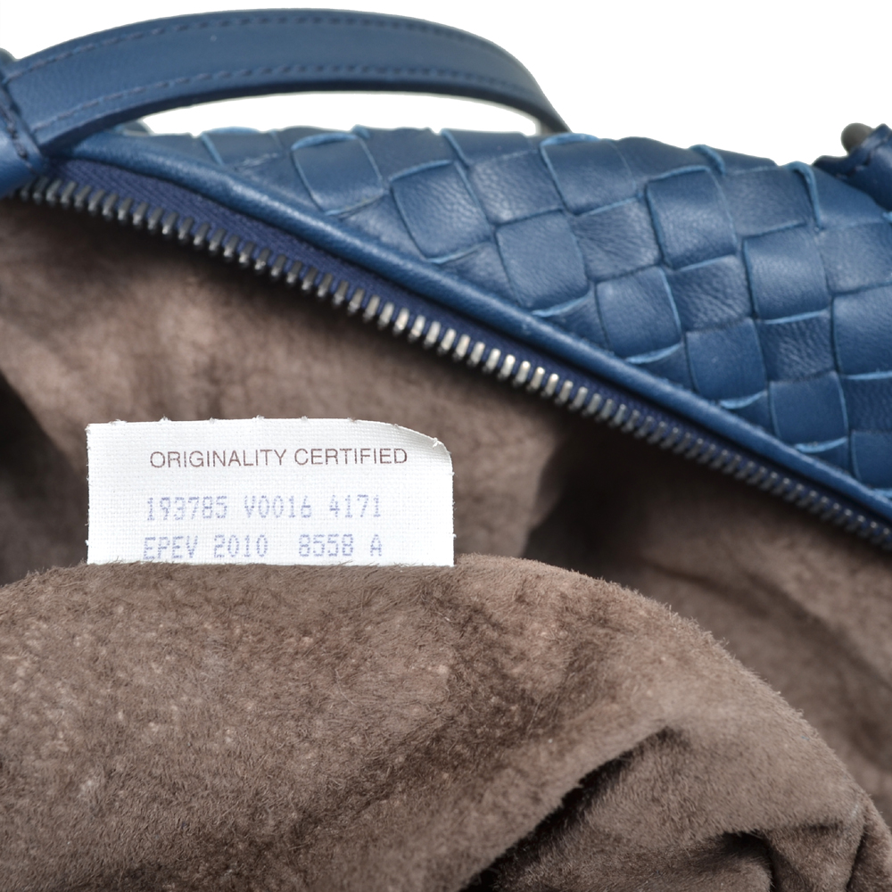 61ed3dfd7a Bottega Veneta shopper convertible blue woven leather silver 5 Kopie