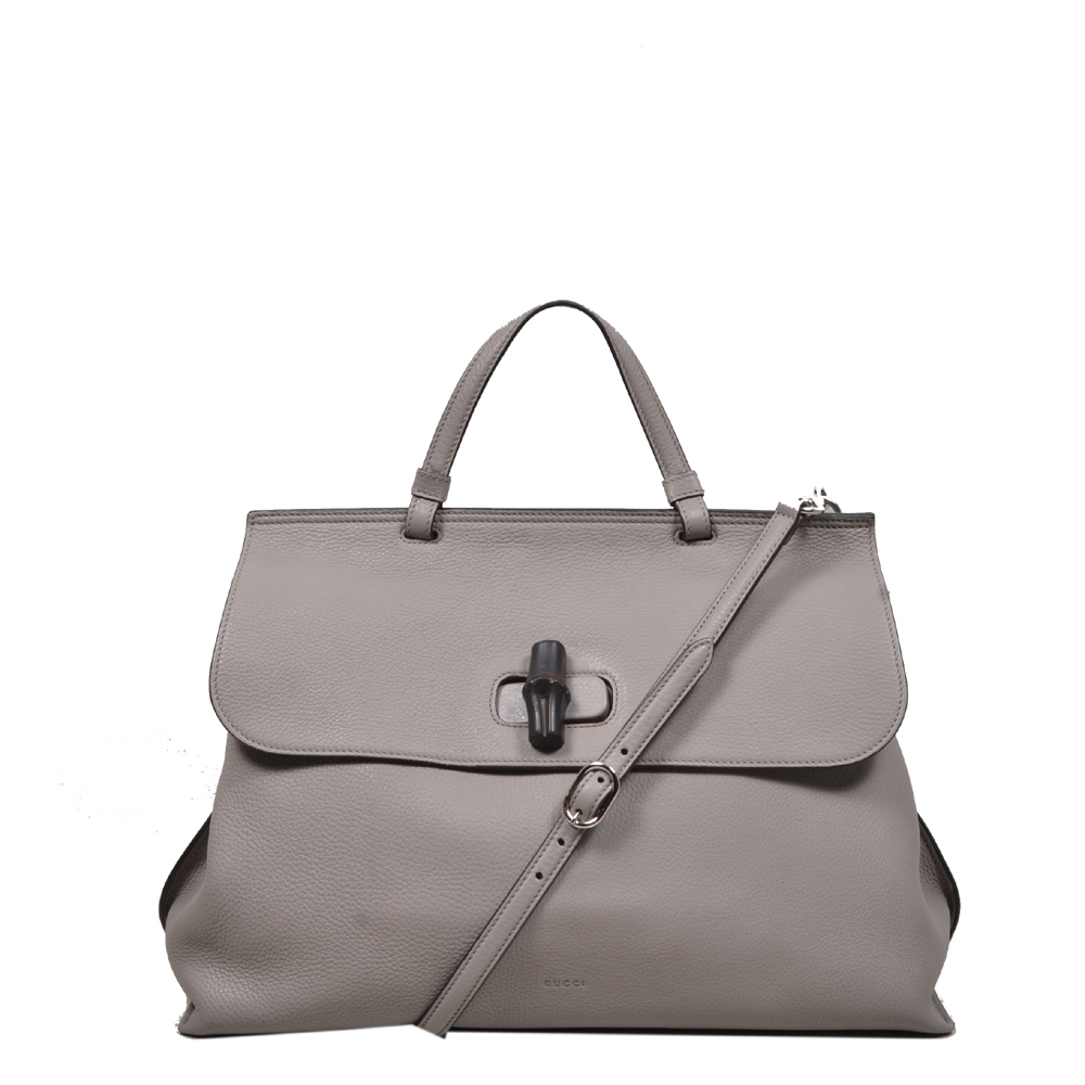98870556992f WOMEN · Gucci bag bamboo daily grey leather ...