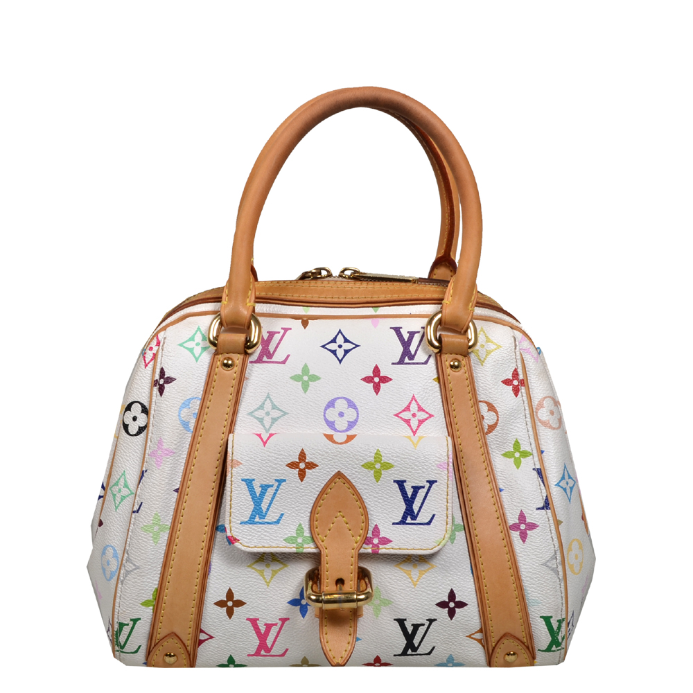 Louis Vuitton Priscilla Multicolor white canvas gold_7 Kopie