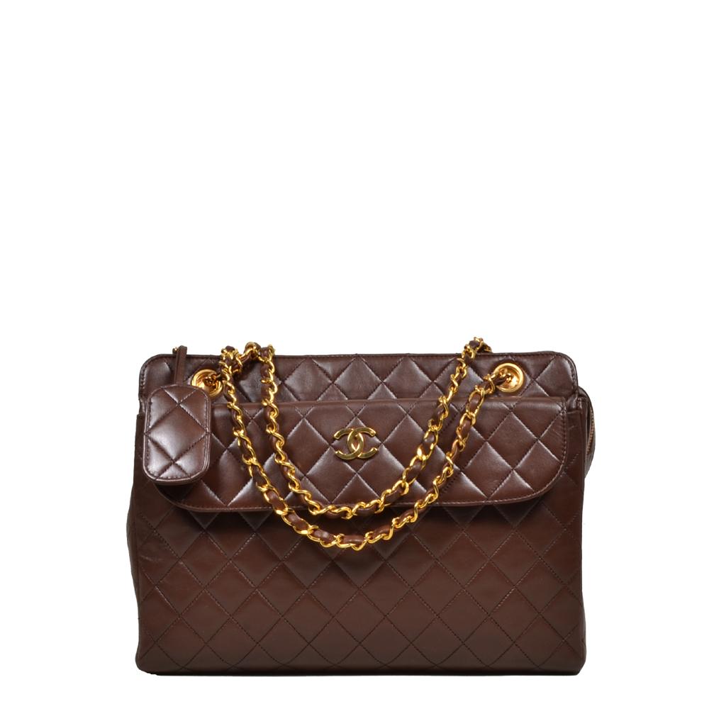 Chanel Vintage Tasche 30cm Braun Gold Kopie