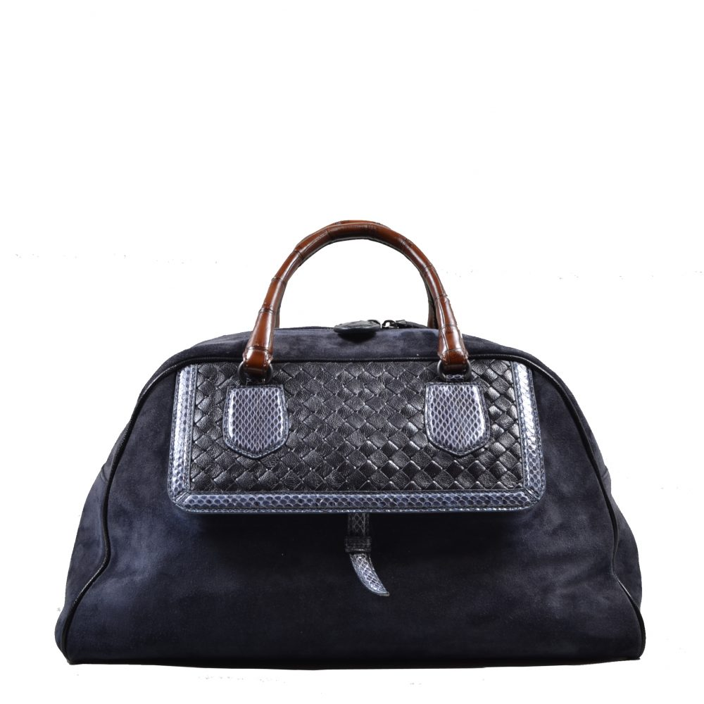 Bottega Veneta Bowling Bag Suede leather blue