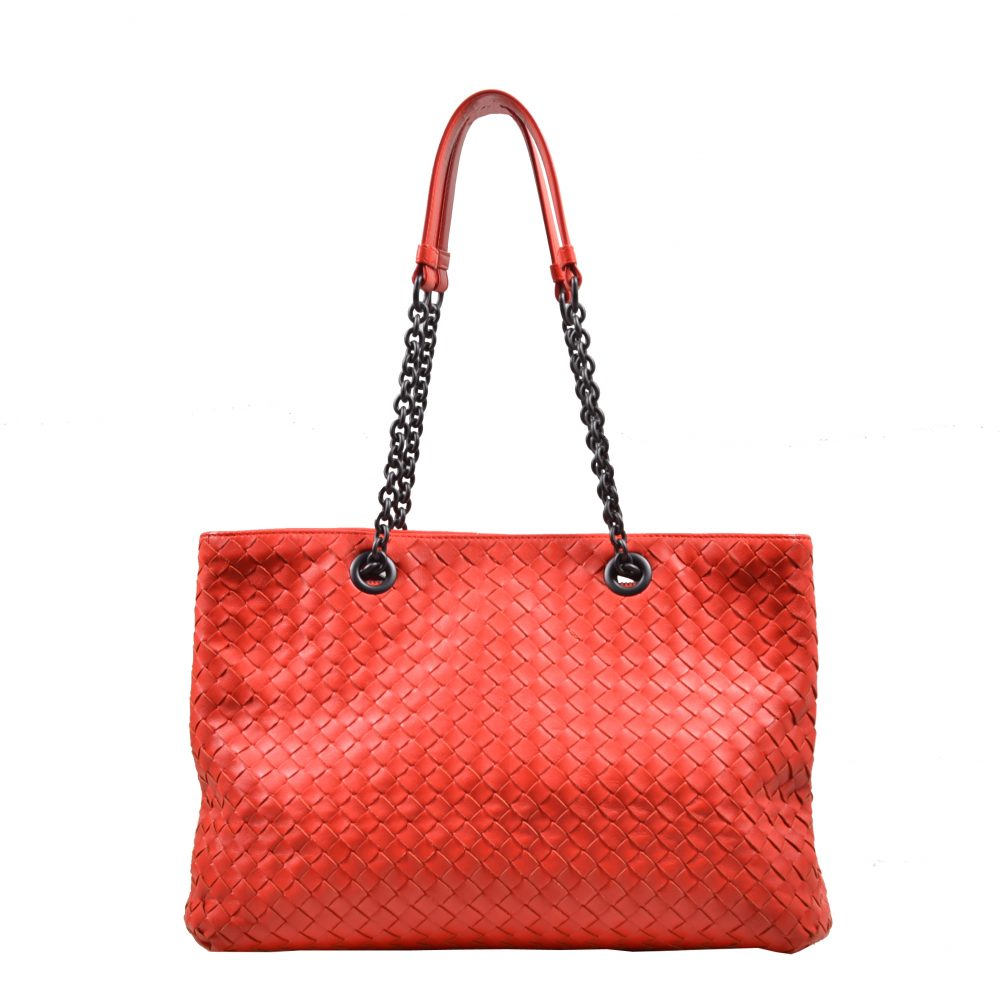 Bottega Veneta Intreccatio Shopper red