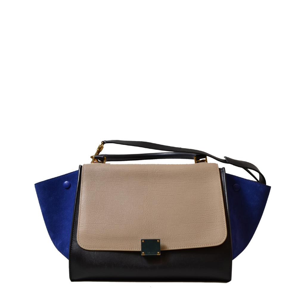 Celine Trapez Bag Leather wildleather black beige blue Kopie