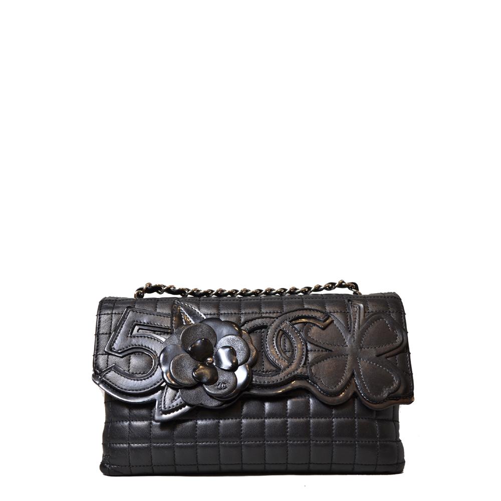 Chanel Bga Black Pochette Camelie CC Lucky Clover Silver Kopie