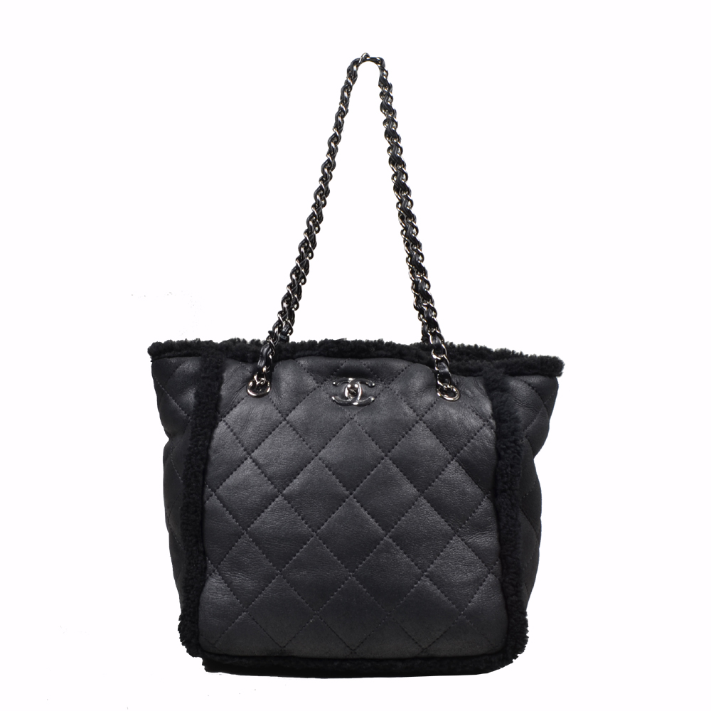 Chanel Shopper bag lamb skin leather black silver ( 27x 13 x 25 ) 2