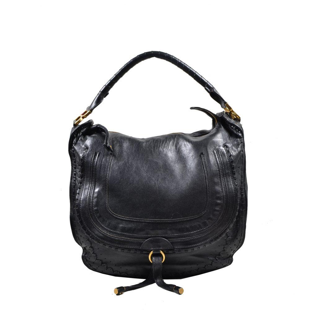 Chloe Marcie Bag leahter black(40x37x12)