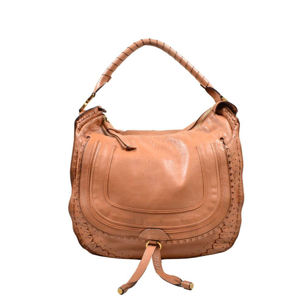 Chloe Marcie Bag leahter cognac(40x37x12)