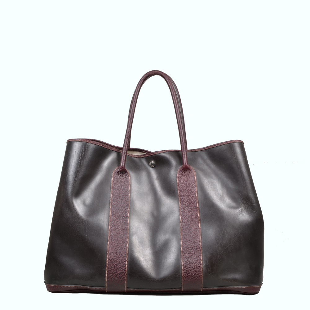 Hermes Garden Party black rubber brown leather ( 49 x 37 x … ) 2