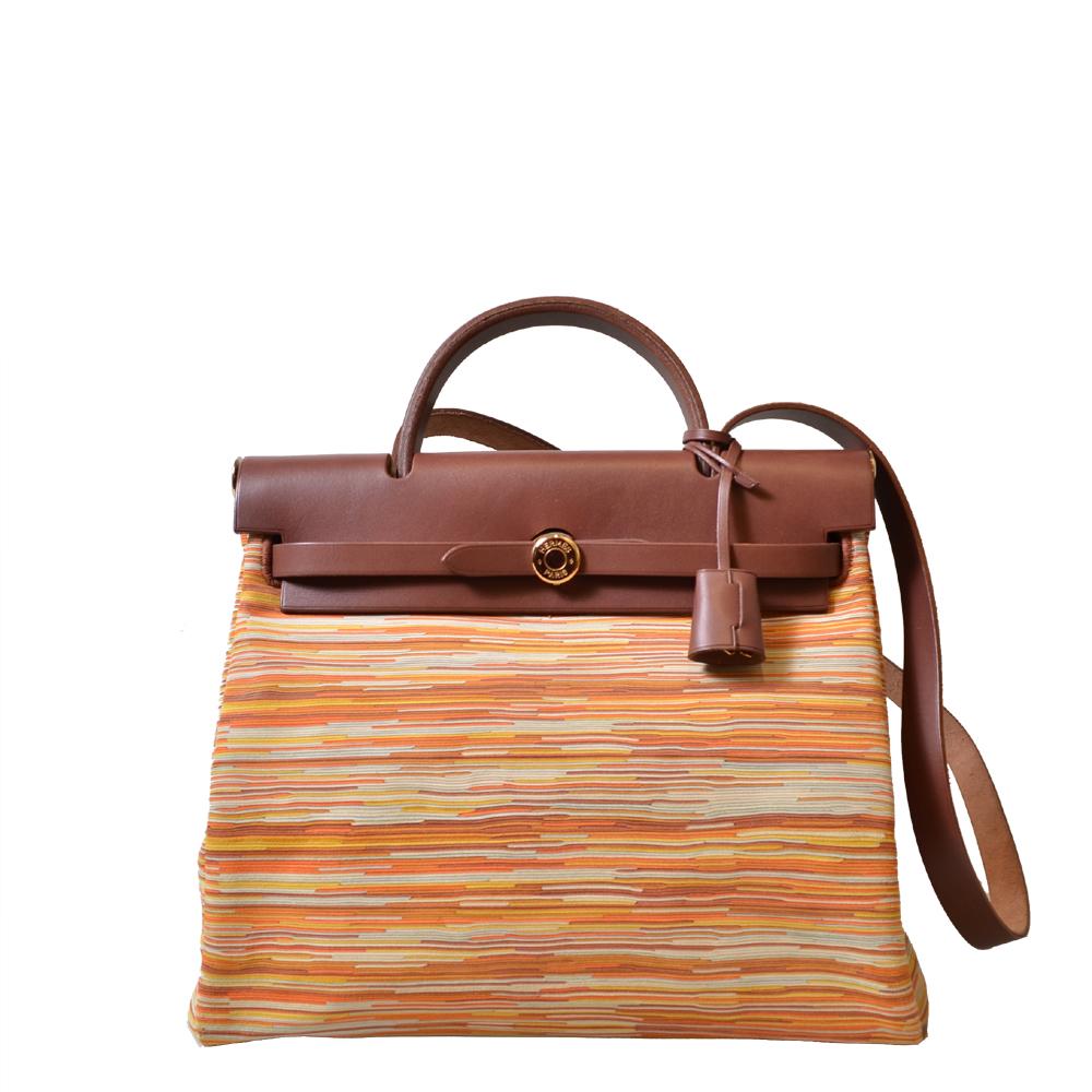 Hermes Tasche Herbag Gold Vibrato Leder braun + 2 Stoff Tasche Kopie