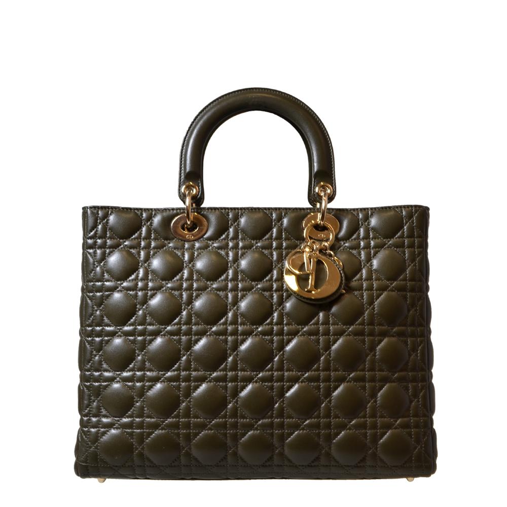 Lady Dior Bag with Shoulderstrap Olive Green Gold Kopie