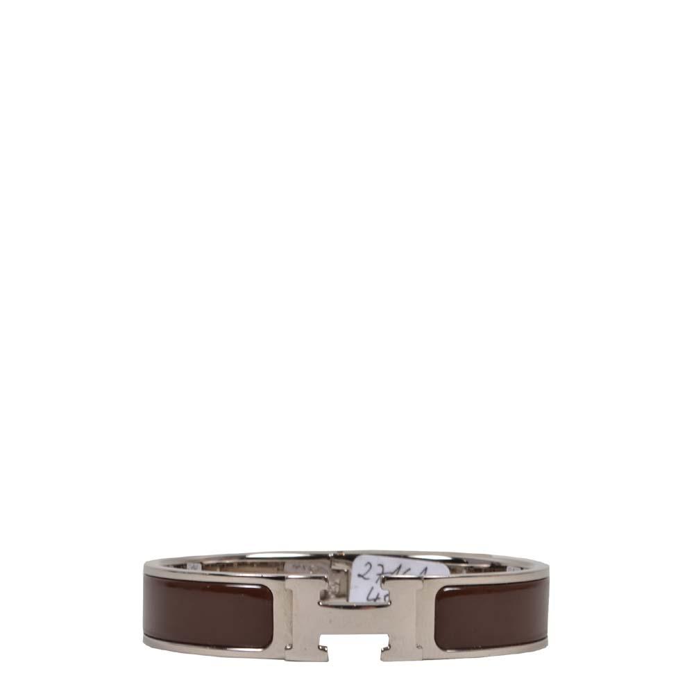 Hermes Bracelet Clic H Brown Silver Kopie