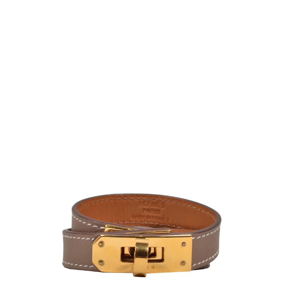 Hermes Bracelet Double Kelly Tour Beige grey Gold Kopie