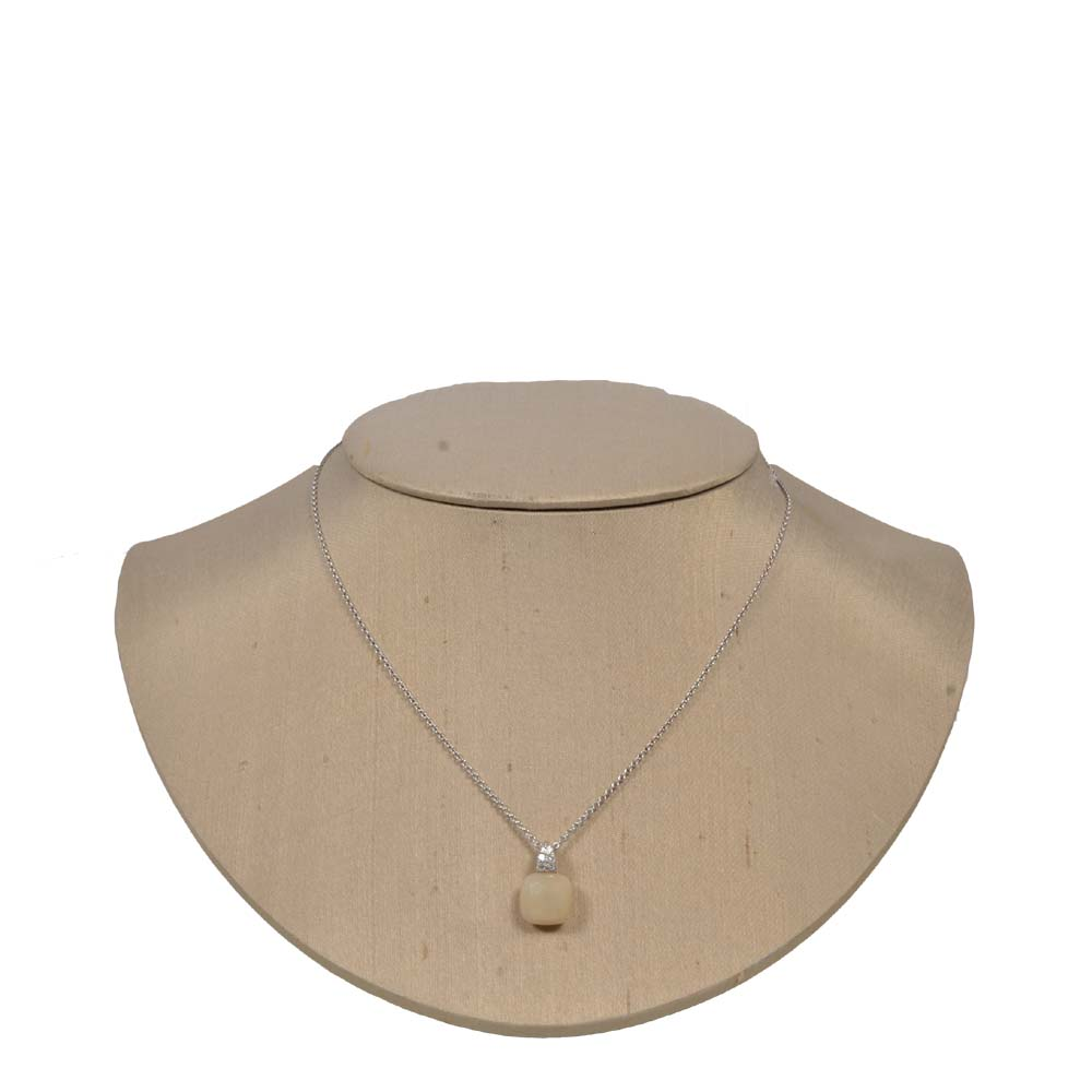 Necklace Silver with beige Stone Kopie