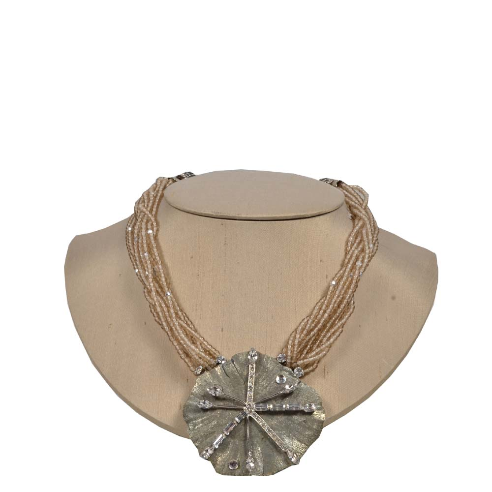 Necklace with many Chains and big Flower and SIlver Kopie