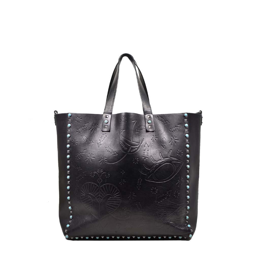 Valentino Shopper Black tourquise rivets ( 38 x 37 x 15 ) 1
