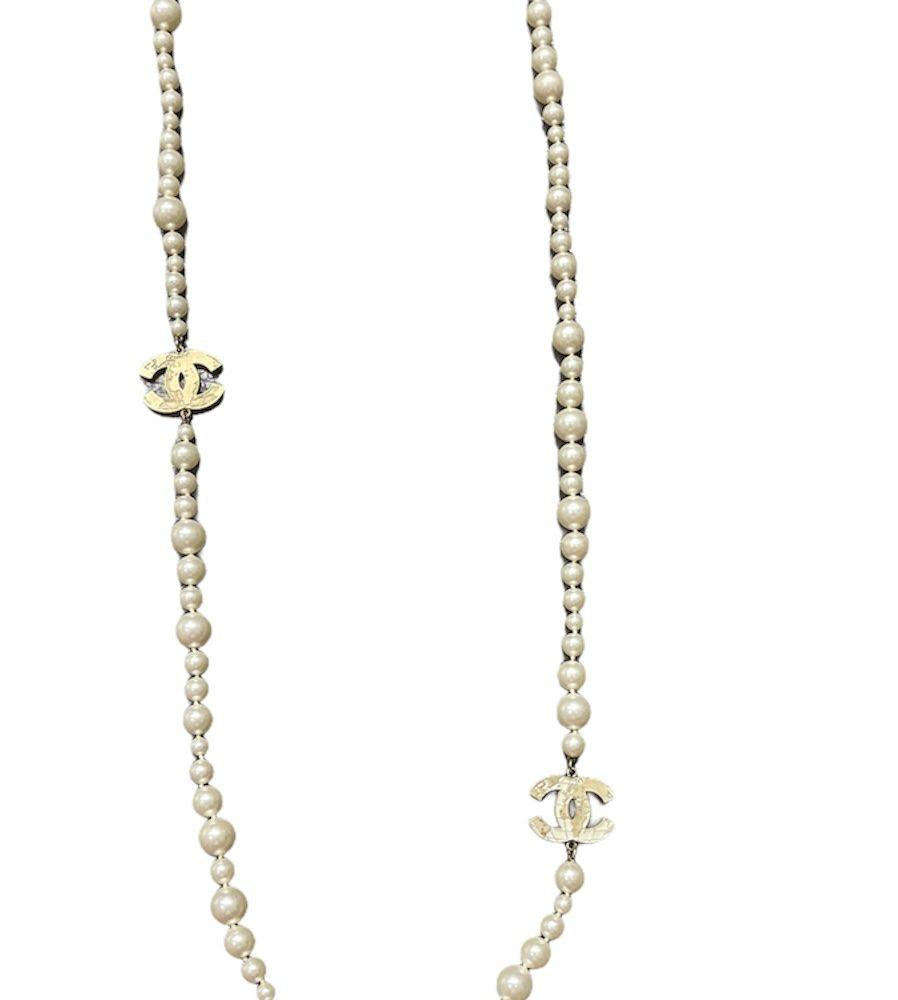 Chanel Kette Perlen gold CC Logo Globus necklace