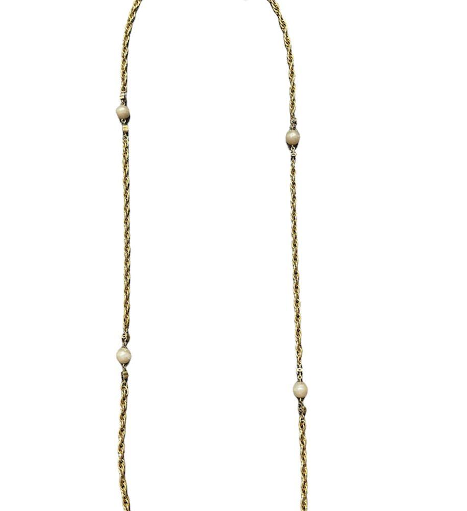 Chanel Necklace Kette Sautoir pelen pearl Gold