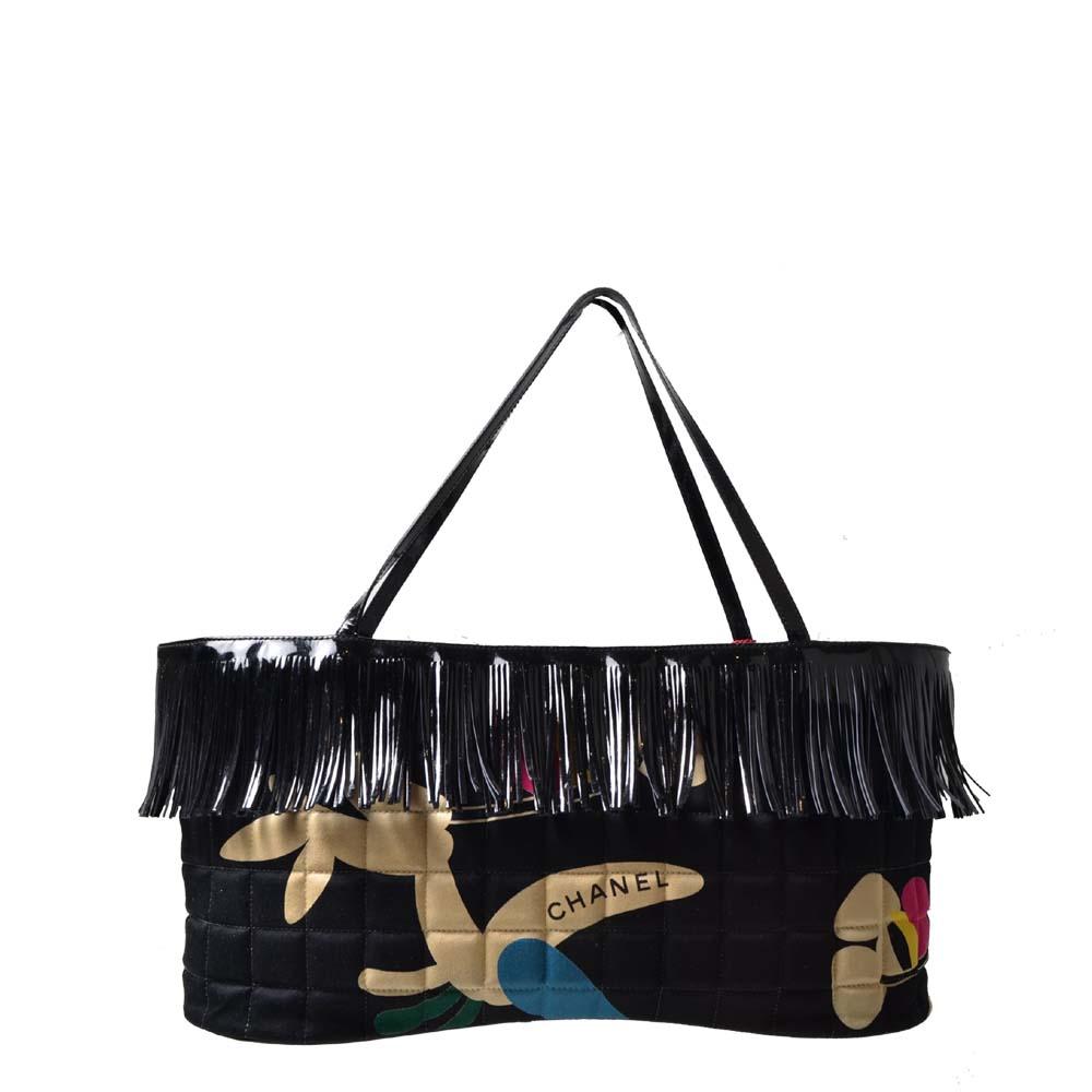 Chanel Bag Floral Canvas patent leather with fringe black ( ) 800 Kopie