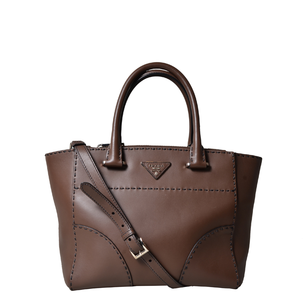 Prada Shopper leather brown silver shoulderstrap 1.500 ( )