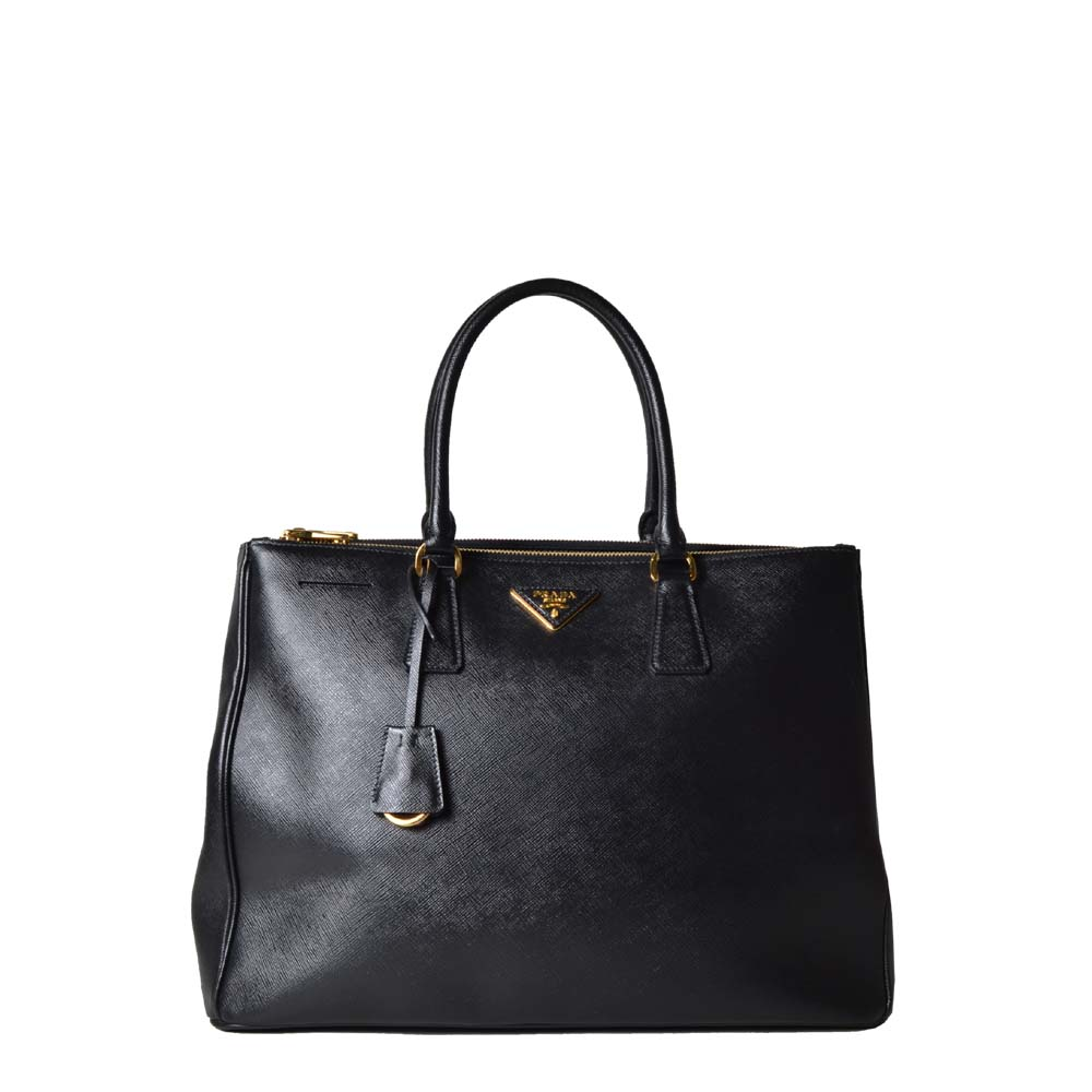 Prada shopper Gallaria Saffiano black gold leather ( ) 1