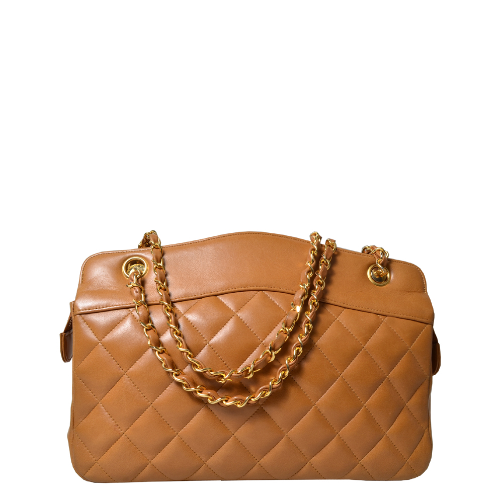 Chanel Vintage 28cm bag leather beige brown gold Chain Nappa 1.900 ( )