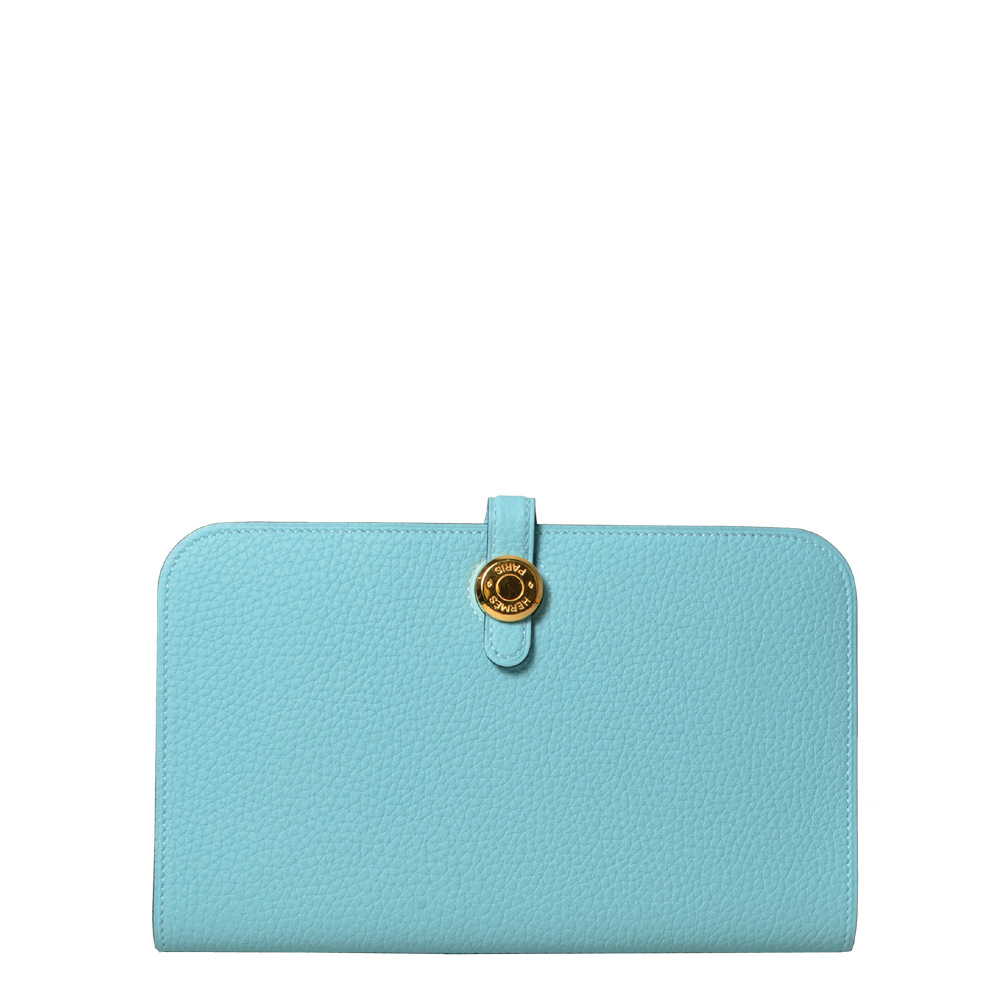 Hermes Wallet Dogon Blue Atoll Clemence gold 1.400 ( )