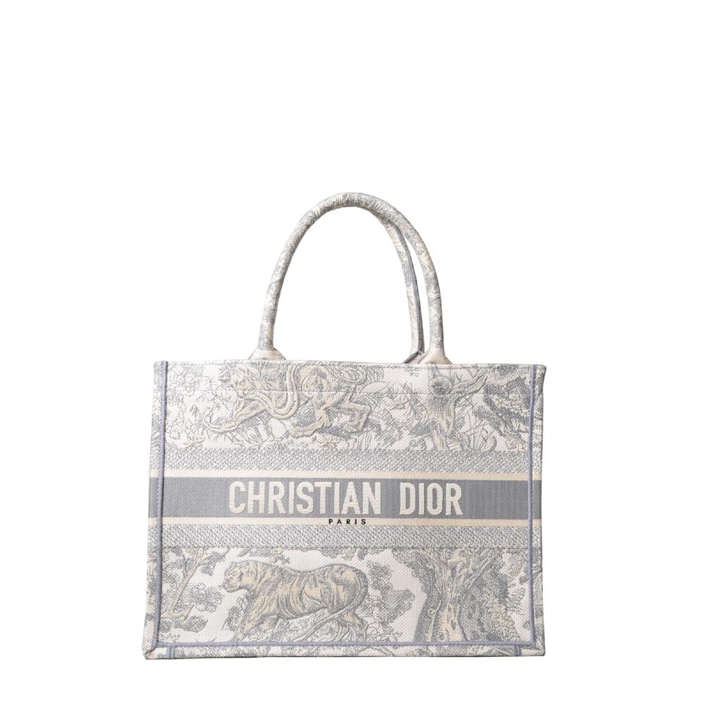 Christian Dior Book Tote Bag Shopper Canvas grau weiß mit Stickerei 2.100 ( )