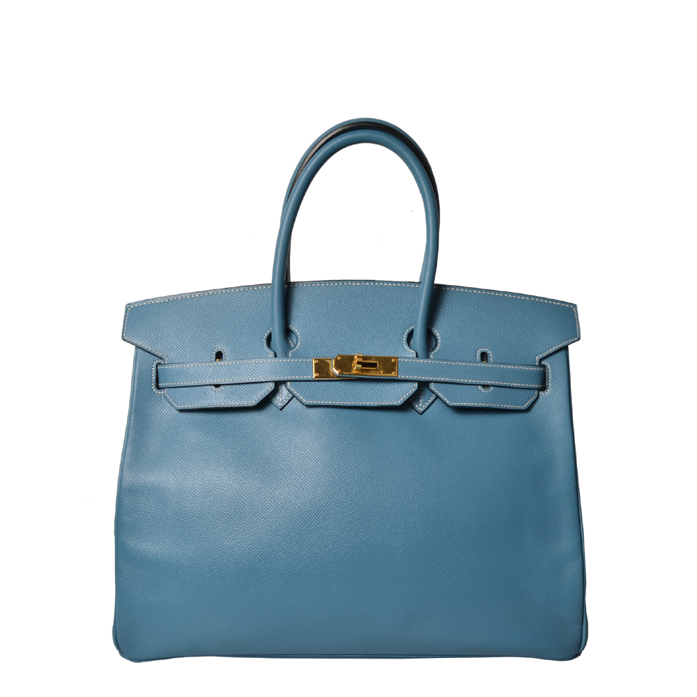 Hermes Birkin 35 Blue Jeans Epsom Gold 9.200 ( )
