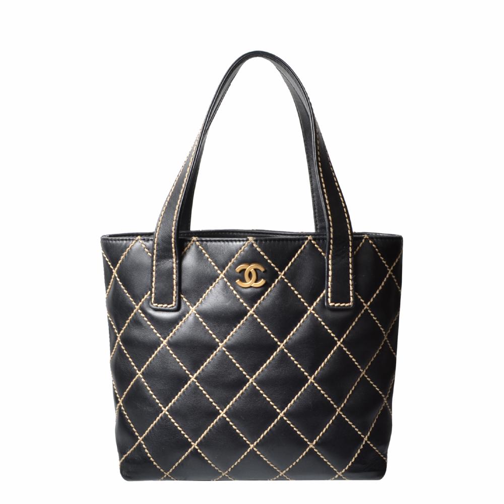 Chanel Shopper Black Vintage Beige Stiching 1.600 ( ewa lagan secondhand frankfurt