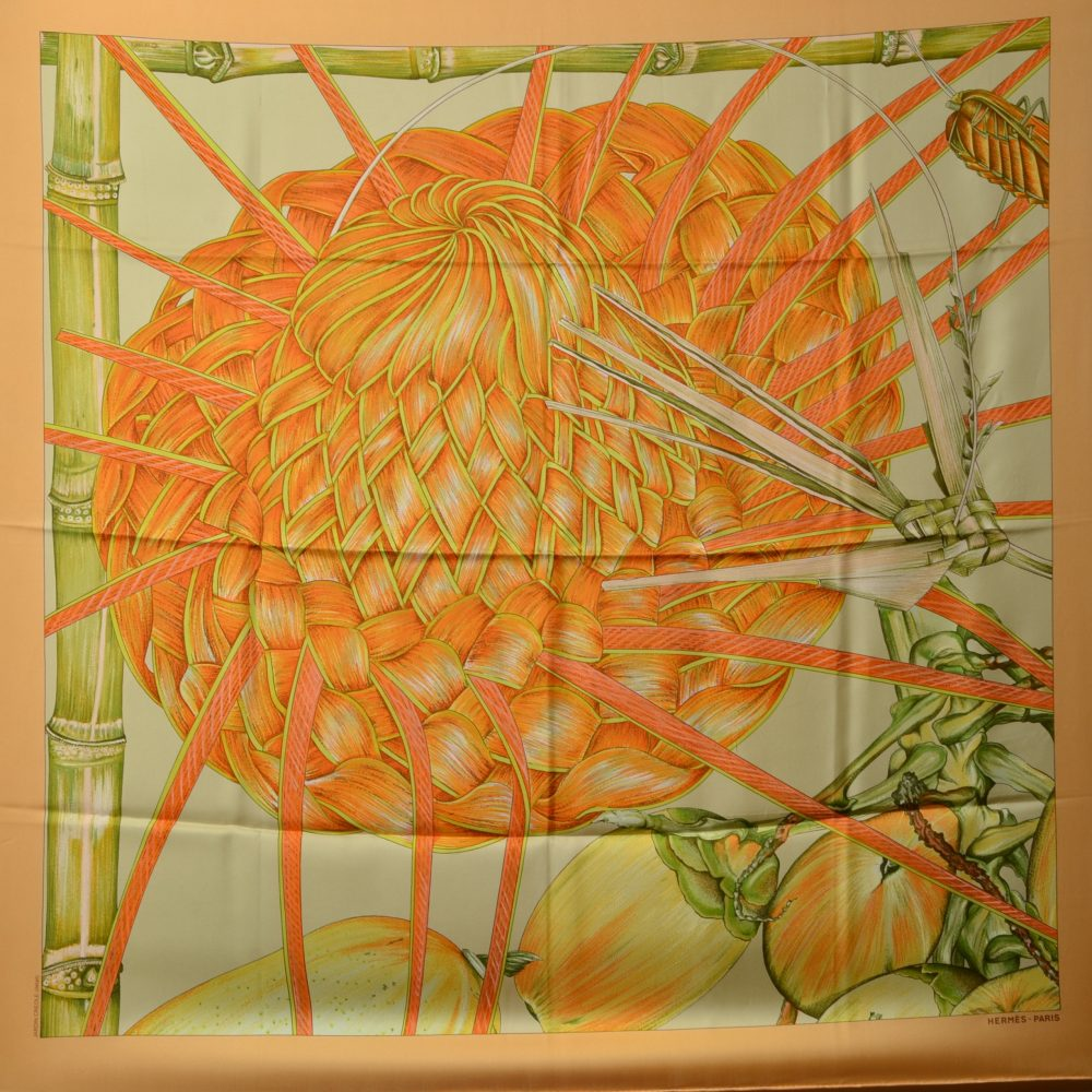 Hermes Carre Silk Seide Soie Jardin Creole Detail (1)