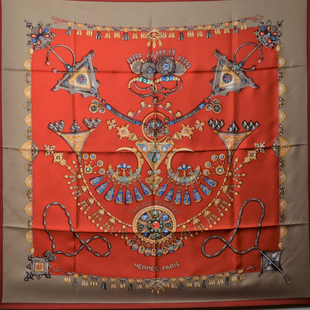 Hermes Carre Silk Seide Soie Parures des Sables (2)