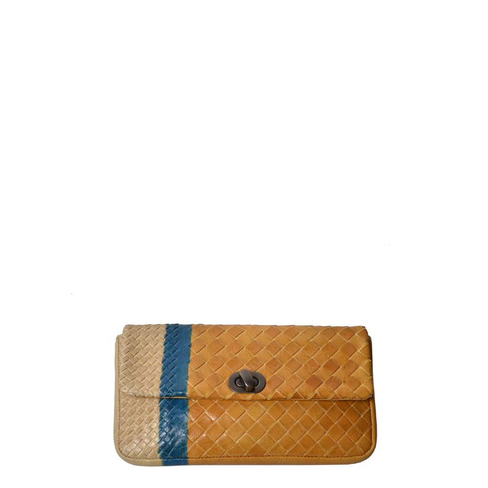 Bottega Veneta Etui Leder geflochten gelb blau beige 300 ( ) Kopie