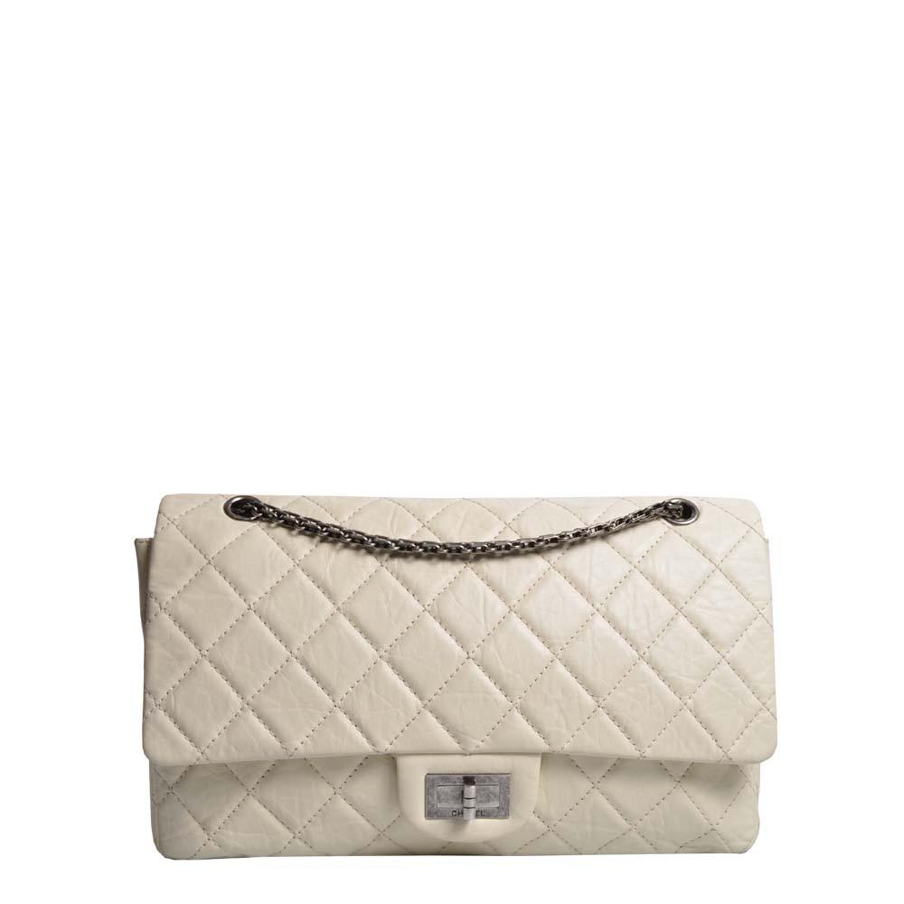Chanel 2.55 Tasche 31cm offwhite Silber gebürstet 3.600 (ewa lagan secondhand frankfurt