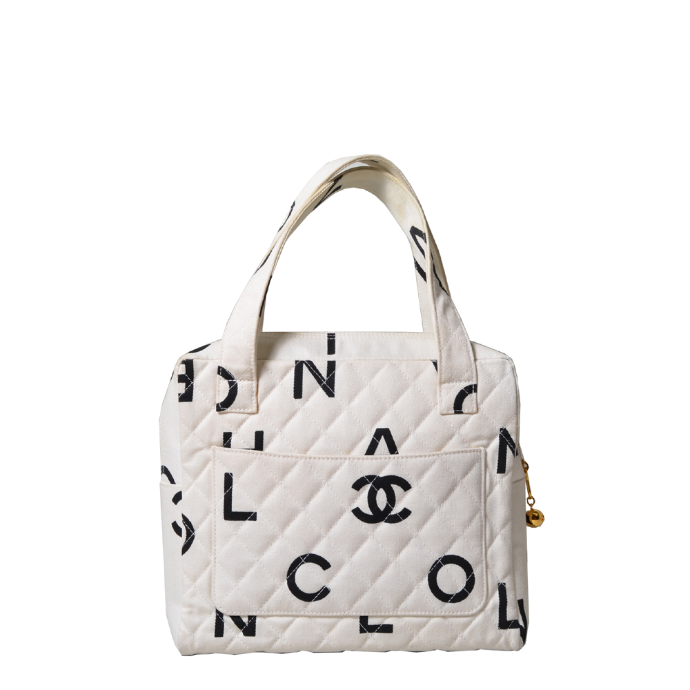 Chanel Bag Canvas Logo CC Creme black ( ) 550 ewa lagan secondhand frankfurt