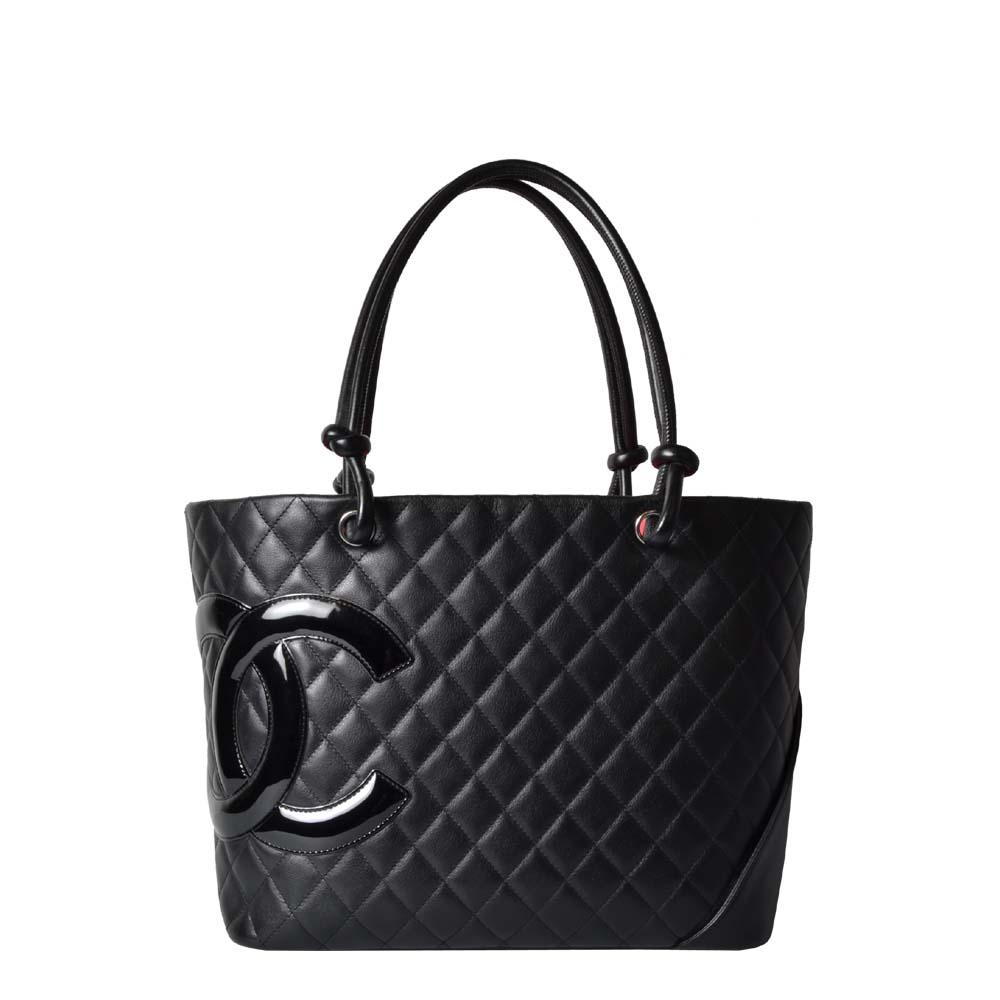 Chanel Shopper gestepptes Leder Schwarz CC Logo vorne innen Pink 2.200 ( )