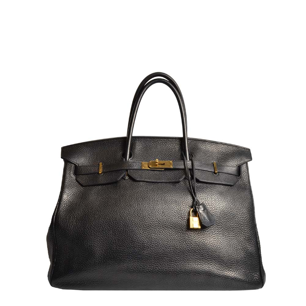 Hermes Birkin 40 Clemence dark brown / braun Gold leather Leder