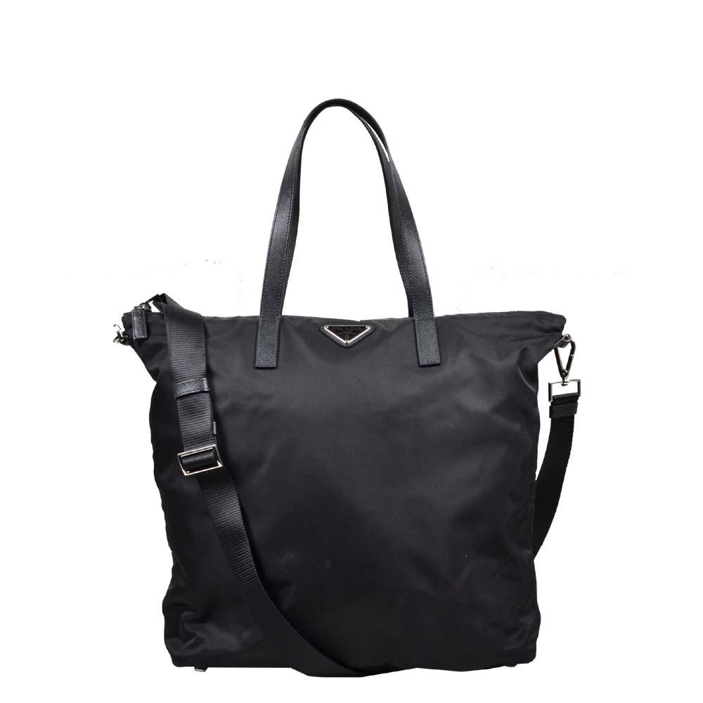 Prada Nylon Bag Black with leather shoulderstrap ( 33 x 33 x 14 ) 500 ewa lagan secondhand frankfurt