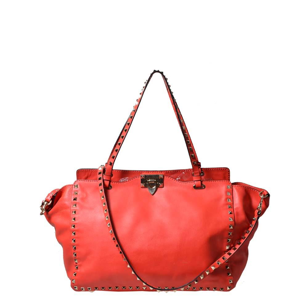 Valentino Shopper Garavani Rockstud red leather gold ( ) 1