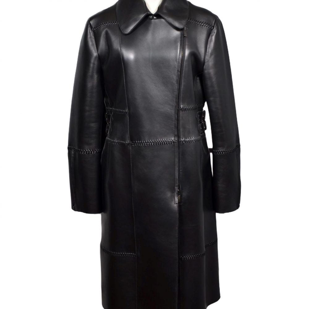 Alberta Ferretti Mantel Coat Leder leather black Neopren 42
