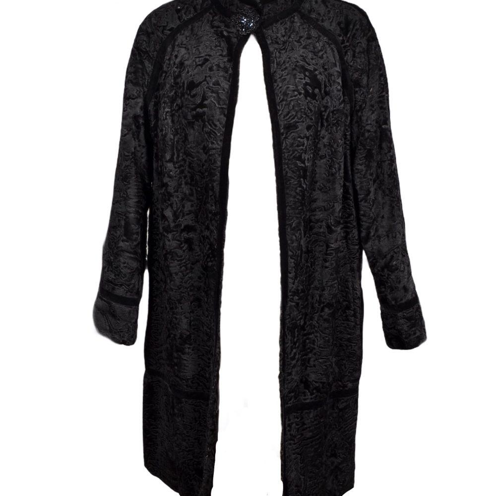 Albrecht Ollendiek Mantel Persianer Coat schwarz black 38