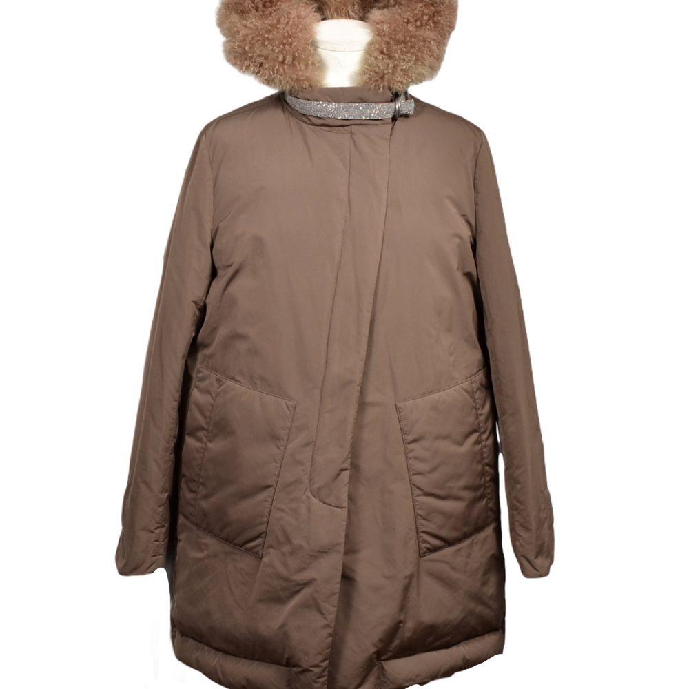 Brunello Cuccinelli Jacke Mantel Coat 38 Kapuze Fell Fur
