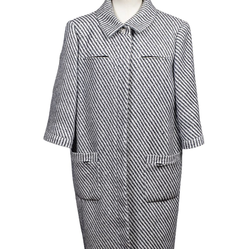 Chanel Coat Mantel White Blue Cotton Nylon Wool Size 48