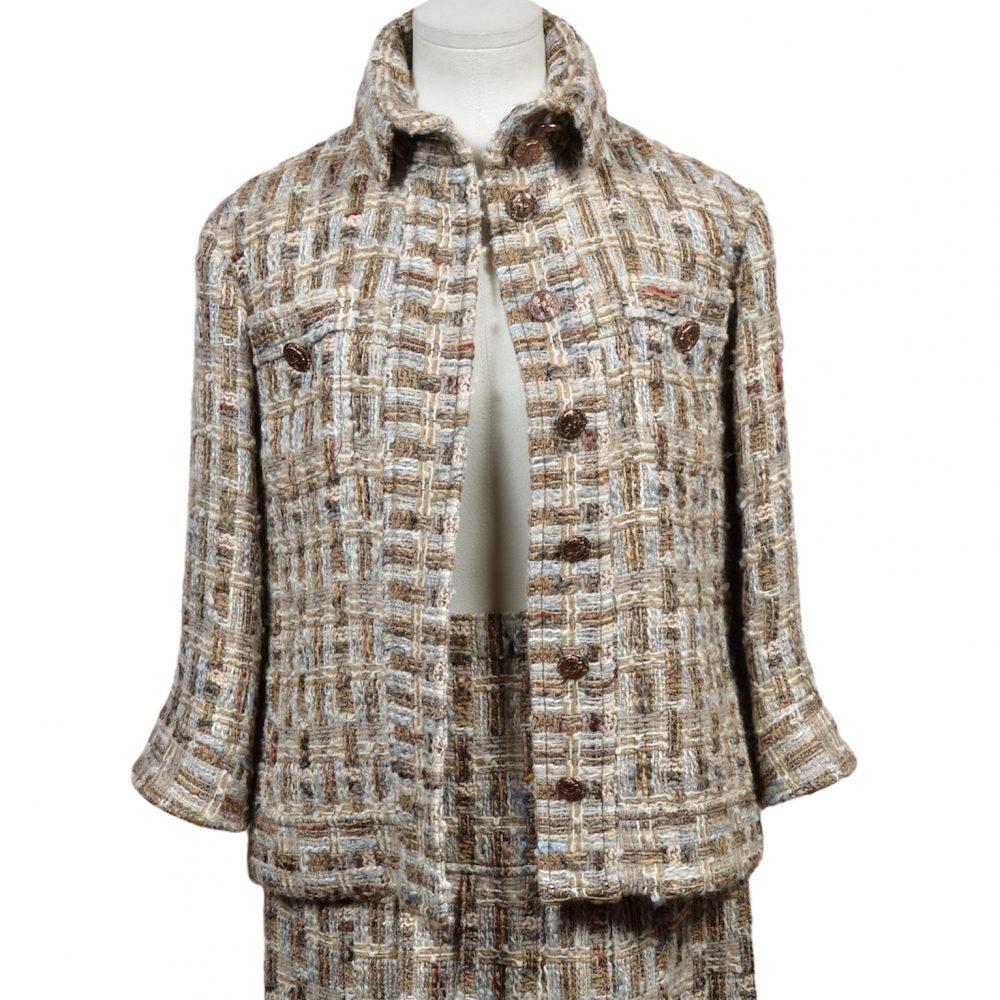 Chanel Costume Suit Tweed Boucle 34 beige (2)