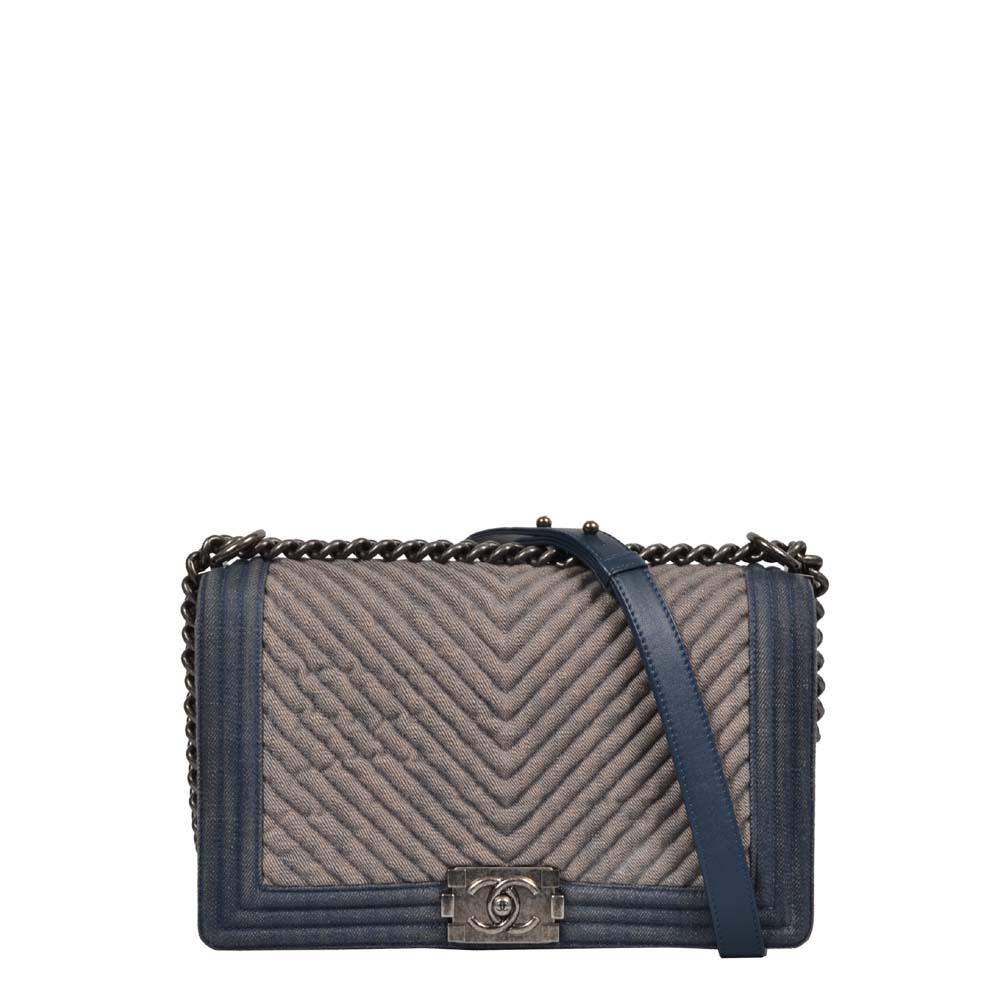 Chanel Tasche Boy Denim blau silber gerippt gesteppt 3.300 ( 28x17x8cm)