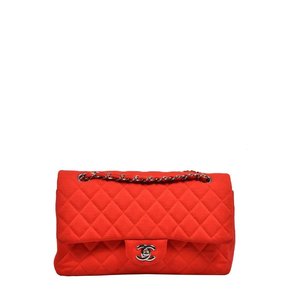 Chanel Tasche Timeless Jersey rot 26cm Silber ( 26x15x6cm) Kopie
