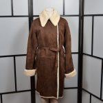 Hermes Paris Lammfel Mantel Coat Lambskin brown 38 (1)